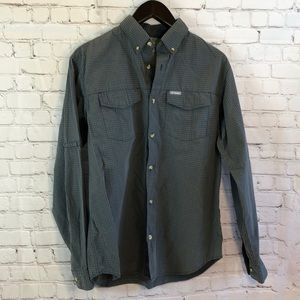Columbia Omni-Shade blue plaid shirt w back vents